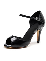 cheap -Women's Sandals Summer / Fall Stiletto Heel Peep Toe Minimalism Daily Party & Evening Striped Leather Black