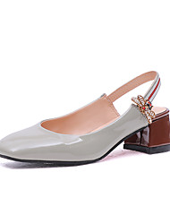 cheap -Women's Sandals Chunky Heel PU(Polyurethane) Summer Black / Light Grey