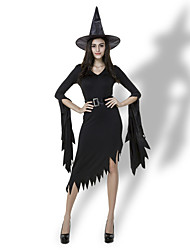cheap -Witch Party Costume Masquerade Adults' Women's Halloween Halloween Halloween Festival / Holiday Polyster Black Women's Carnival Costumes Solid Colored / Dress / Hat