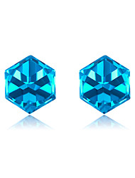 cheap -Blue Cube Stud Earrings for Women 925 Sterling Silver Austrian Crystal Rhinestone Earring Wedding Korean Jewelry