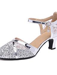 cheap -Women's Modern Shoes / Ballroom Shoes Synthetics Heel Cuban Heel Customizable Dance Shoes Black / Gold / Silver / Performance