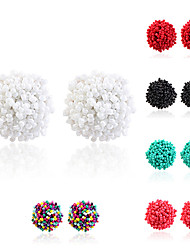 cheap -Women's Stud Earrings Braided Ball Simple Bohemian Oversized Resin Earrings Jewelry Black / Green / White For Gift Street Bar 1 Pair