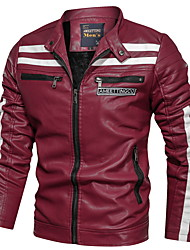 cheap -Men's Daily Regular Leather Jacket, Striped Stand Long Sleeve PU Blue / Black / Red