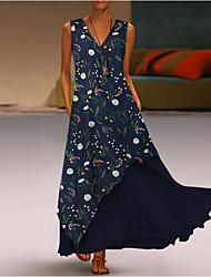 cheap -Women's Maxi Purple Yellow Dress Swing Geometric V Neck S M