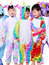 cheap -Kid's Kigurumi Pajamas Unicorn Flying Horse Animal Onesie Pajamas Polar Fleece White+Blue / White+Pink / Purple Cosplay For Boys and Girls Animal Sleepwear Cartoon Festival / Holiday Costumes