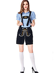 cheap -Oktoberfest Beer Outfits Dirndl Trachtenkleider Women's Blouse Dress Pants Bavarian Costume Brown black Blue Black Green / Black