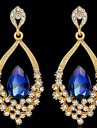 cheap -Women's Cubic Zirconia Drop Earrings Classic Drop Stylish Gold Plated Earrings Jewelry White / Gold / Royal Blue For Party Daily 1 Pair