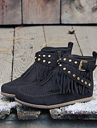 cheap -Women's Boots Flat Heel Round Toe PU Booties / Ankle Boots Fall & Winter Black / Almond / Yellow