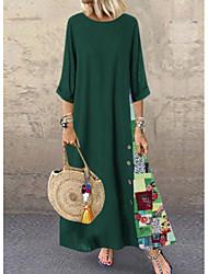 cheap -Women's Maxi A Line Dress - Floral Red Green Navy Blue L XL XXL XXXL