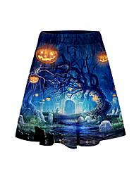 cheap -Women's Halloween Vintage A Line Skirts - Print Purple Orange Blue XS S M