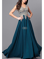 cheap -A-Line V Neck Sweep / Brush Train Chiffon / Lace Beautiful Back Formal Evening Dress 2020 with Lace Insert