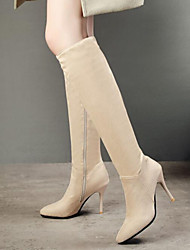 cheap -Women's Boots Knee High Boots Stiletto Heel Pointed Toe Suede Knee High Boots Fall & Winter Black / Beige