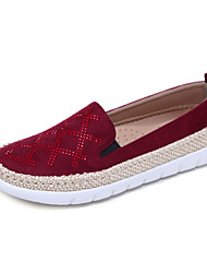 cheap -Women's Flats Flat Heel Round Toe Rhinestone Linen / PU(Polyurethane) Casual / Minimalism Fall / Spring & Summer Black / Almond / Red