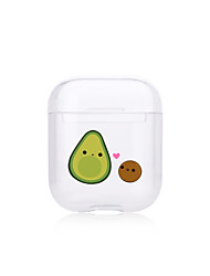 cheap -Case For AirPods Apple Transparent Earphone Cover Creative Pattern Cartoon Avocado