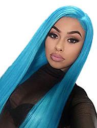 Недорогие -Синтетические кружевные передние парики Прямой Средняя часть Лента спереди Парик Длинные Светло-синий Искусственные волосы 18-26 дюймовый Жен. Регулируется Жаропрочная Для вечеринок Синий