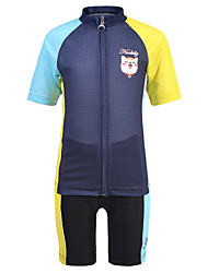 cheap -Nuckily Boys' Girls' Short Sleeve Cycling Jersey with Shorts - Kid's Blue+Yellow Cat Bike Clothing Suit Breathable Moisture Wicking Quick Dry Anatomic Design Sports Spandex Cat Mountain Bike MTB