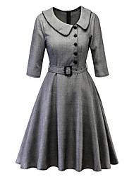 cheap -Audrey Hepburn Retro Vintage 1950s Dress Masquerade Women's Cotton Costume Wine / Gray Vintage Cosplay Party