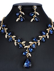cheap -Women's Blue Red White Bridal Jewelry Sets Link / Chain Floral Theme Luxury Dangling Vintage Elegant Earrings Jewelry White / Red / Dark Blue For Christmas Wedding Party Engagement Holiday 1 set
