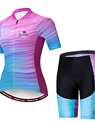 cheap -EVERVOLVE Women's Short Sleeve Cycling Jersey with Shorts Blue+Pink Stripes Bike Clothing Suit Breathable Moisture Wicking Quick Dry Anatomic Design Sports Cotton Lycra Stripes Mountain Bike MTB Road