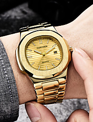 cheap -Men's Steel Band Watches Quartz Formal Style Stylish Black / Silver / Gold 30 m Water Resistant / Waterproof Creative Luminous Analog Casual Minimalist - Black Gold Silver Two Years Battery Life