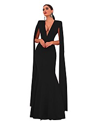 cheap -Women's Basic Maxi Sheath Dress - Solid Colored V Neck Black Blushing Pink Royal Blue S M L XL