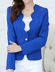 cheap -Women's Blazer, Solid Colored V Neck Polyester Red / Purple / Yellow