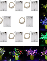 cheap -10m String Lights 100 LEDs 8pcs Warm White RGB White Creative Party Batteries Powered