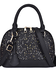 cheap -Women's Sequin / Lace PU Top Handle Bag Solid Color Black / White / Blushing Pink
