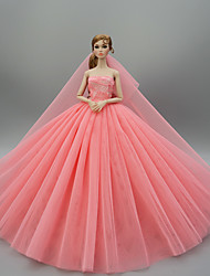 cheap -Doll Dress Party / Evening Wedding For Barbiedoll Solid Color Light Yellow Purple Yellow Satin / Tulle Polyester 1 X Doll Clothes For Girl's Doll Toy / Kids