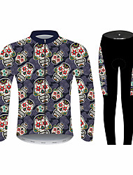 cheap -21Grams Sugar Skull Men's Long Sleeve Cycling Jersey with Tights - Black / Red Bike Clothing Suit Windproof UV Resistant Breathable Sports Winter Fleece 100% Polyester Mountain Bike MTB Clothing
