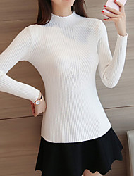 cheap -Women's Solid Colored Long Sleeve Pullover Sweater Jumper, Round Neck Fall Black / White / Blushing Pink One-Size