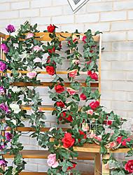 Недорогие -Искусственная роза лоза 16 кирпич камень роза поддельные цветок ротанга спальня столовая потолок цветок украшения стены лоза