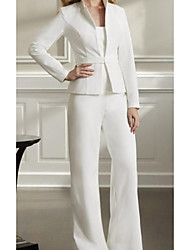 cheap -Pantsuit / Jumpsuit Sweetheart Neckline Floor Length Polyester Long Sleeve Elegant / Plus Size Mother of the Bride Dress with Ruffles 2020