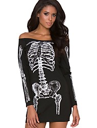 cheap -Women's Halloween Mini T Shirt Dress - Animal Off Shoulder Black White S M L XL