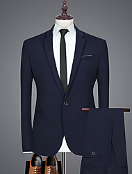 cheap -Black / Purple / Navy Blue Solid Colored Regular Fit Rayon / Polyester Men's Suit - Notch lapel collar