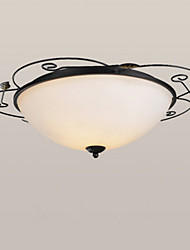 cheap -2-Light Ceiling Lamp American Country Chandeliers 2 Lights Ceiling Round Glass Shade Pendant Light Fixtures Flush Mount for Hallway Living Room