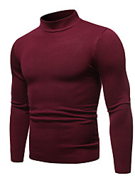 cheap -Men's Solid Colored Long Sleeve Pullover Sweater Jumper, Round Neck Fall / Winter Black / Wine / White US32 / UK32 / EU40 / US34 / UK34 / EU42 / US36 / UK36 / EU44