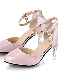cheap -Women's Heels Stiletto Heel Pointed Toe Microfiber / PU Fall / Spring & Summer Black / White / Pink / Party & Evening