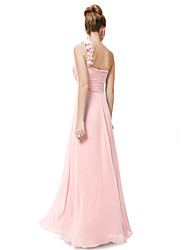 cheap -A-Line One Shoulder Floor Length Chiffon Elegant Prom Dress 2020 with Sash / Ribbon