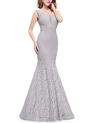 cheap -Mermaid / Trumpet Illusion Neck / Y Neck Sweep / Brush Train Lace See Through / Elegant Formal Evening Dress with Lace Insert 2020