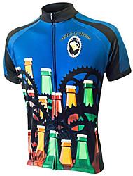 abordables -21Grams Homme Manches Courtes Maillot Velo Cyclisme Bleu / Noir Bière Oktoberfest Cyclisme Hauts / Top VTT Vélo tout terrain Vélo Route Résistant aux UV Respirable Evacuation de l'humidité Des sports