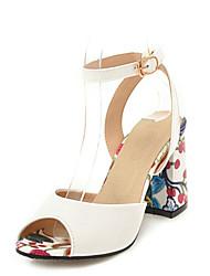 cheap -Women's Sandals Chunky Heel Peep Toe Buckle Faux Leather Sweet / Minimalism Walking Shoes Summer / Spring & Summer Black / White / Light Purple / Color Block