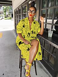 cheap -Women's Shirt Dress - Abstract White Yellow S M L XL