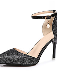 cheap -Women's Heels Stiletto Heel Pointed Toe Sequin / Imitation Pearl / Buckle PU / Synthetics Vintage / British Spring & Summer / Fall & Winter Black / Gold / Silver / Wedding / Party & Evening