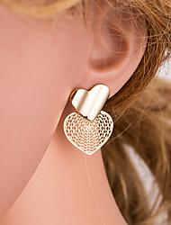 cheap -Women's Gold Stud Earrings Geometrical Heart Simple European Trendy Fashion Earrings Jewelry Gold For Daily 1 Pair