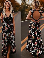 cheap -Women's Maxi Swing Dress - Floral Deep V Black White S M L XL