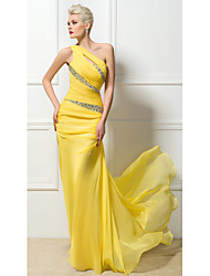 cheap -Sheath / Column Sexy Yellow Engagement Formal Evening Dress One Shoulder Sleeveless Sweep / Brush Train 30D Chiffon with Ruched Crystals Sequin 2020