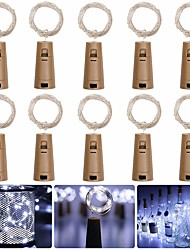 cheap -LOENDE Barisc Wine Bottle Lights with Cork 10 Packs LED Fairy Lights Battery 20 LEDs Silver Copper Wire Waterproof