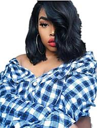 cheap -Human Hair 360 Frontal Wig Bob Side Part style Brazilian Hair Wavy Black Wig 130% Density Cute Women Women's Short Human Hair Lace Wig Clytie
