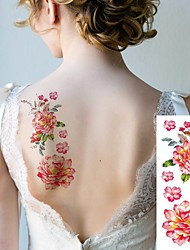 cheap -6 Sheets Large Temporary Tattoos Flower Paper Sexy Body Tattoo Sticker for Women & Girl Fake Tattoo (Lily Peach Plum Peony)